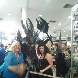 Here I am at the last Supanova, hanging out with Isobelle Carmody and the Dark Lord.